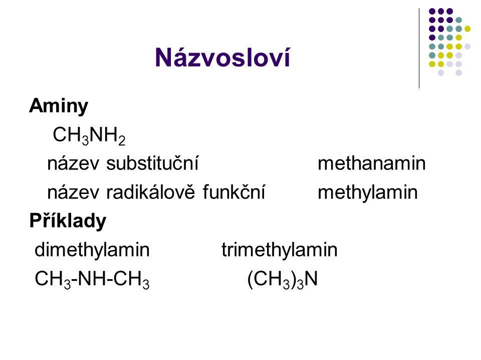 Názvosloví Aminy CH3NH2 název substituční methanamin
