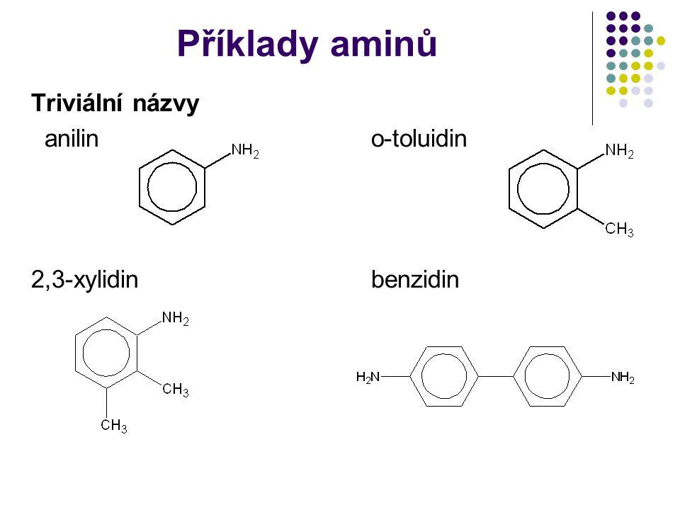Příklady aminů Triviální názvy anilin o-toluidin 2,3-xylidin benzidin