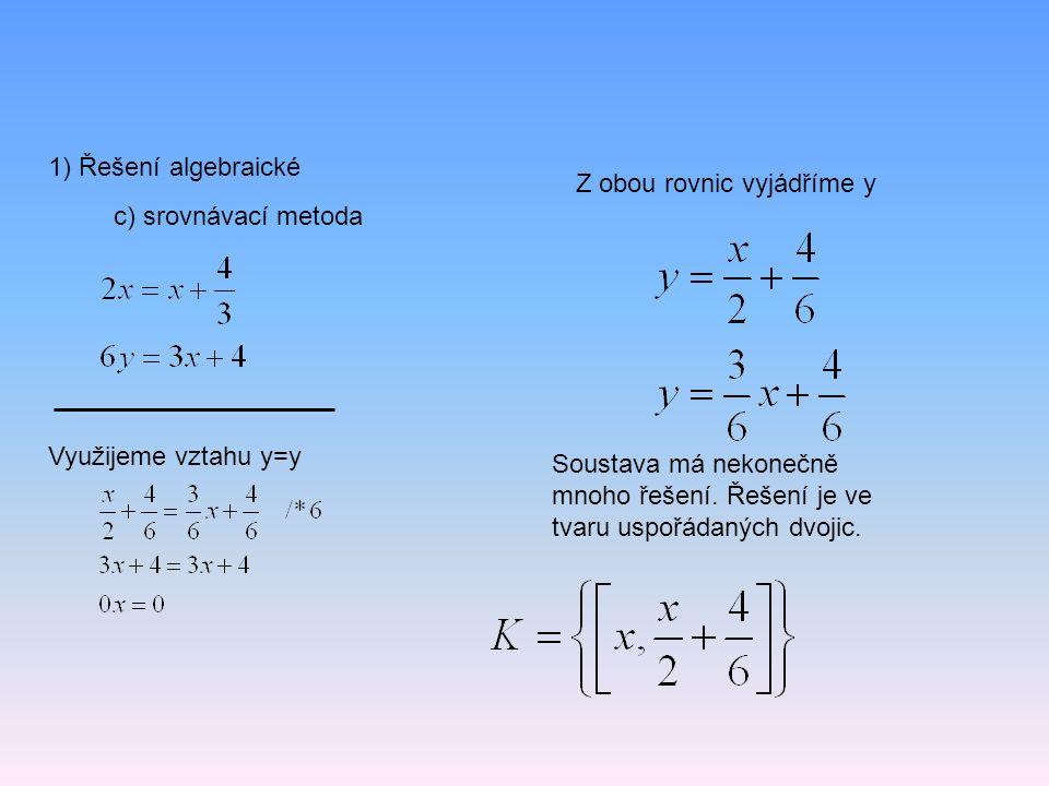 1) Řešení algebraické Z obou rovnic vyjádříme y. c) srovnávací metoda. Využijeme vztahu y=y.