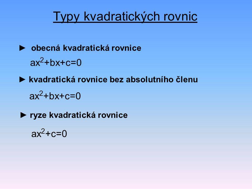 Typy kvadratických rovnic
