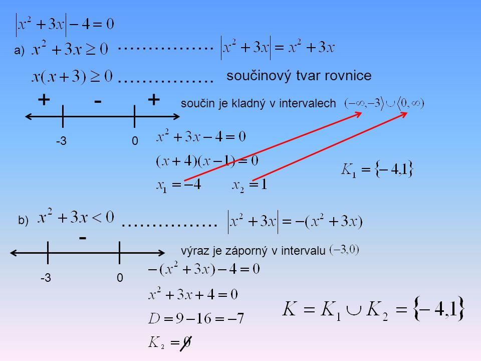 + - + - ……………. ……………. ……………. součinový tvar rovnice a)