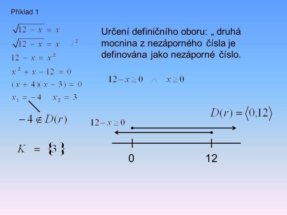 """Příklad 1 Určení definičního oboru: """" druhá mocnina z nezáporného čísla je definována jako nezáporné číslo."""