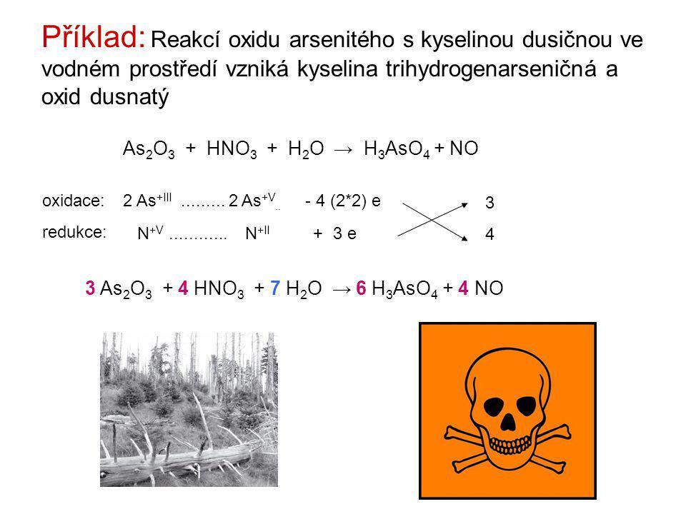 Příklad: Reakcí oxidu arsenitého s kyselinou dusičnou ve vodném prostředí vzniká kyselina trihydrogenarseničná a oxid dusnatý