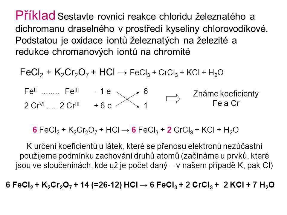 Příklad Sestavte rovnici reakce chloridu železnatého a