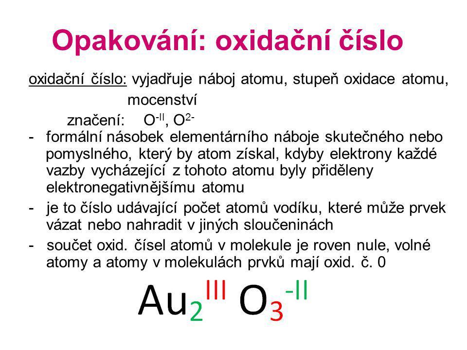 Opakování: oxidační číslo