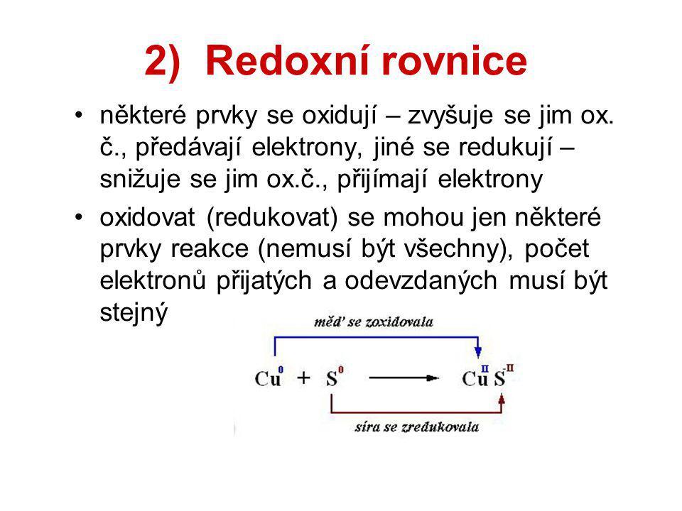 2) Redoxní rovnice