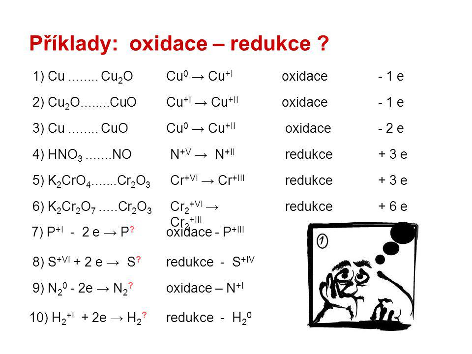 Příklady: oxidace – redukce