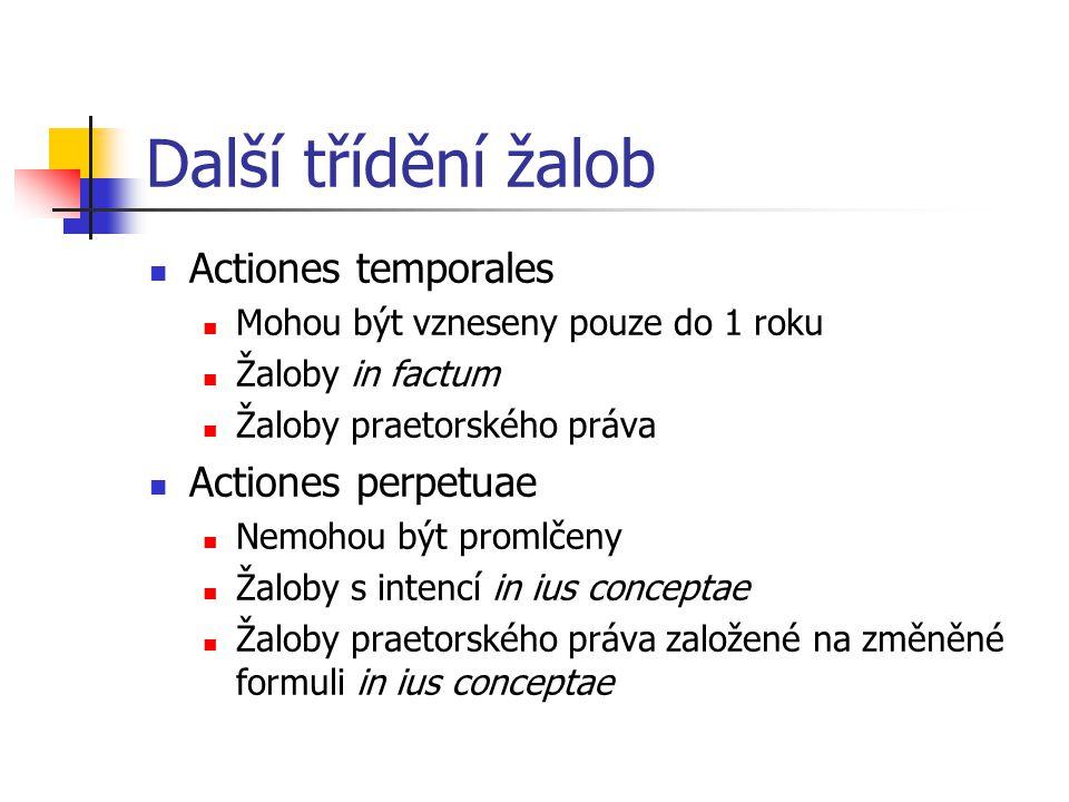 Další třídění žalob Actiones temporales Actiones perpetuae