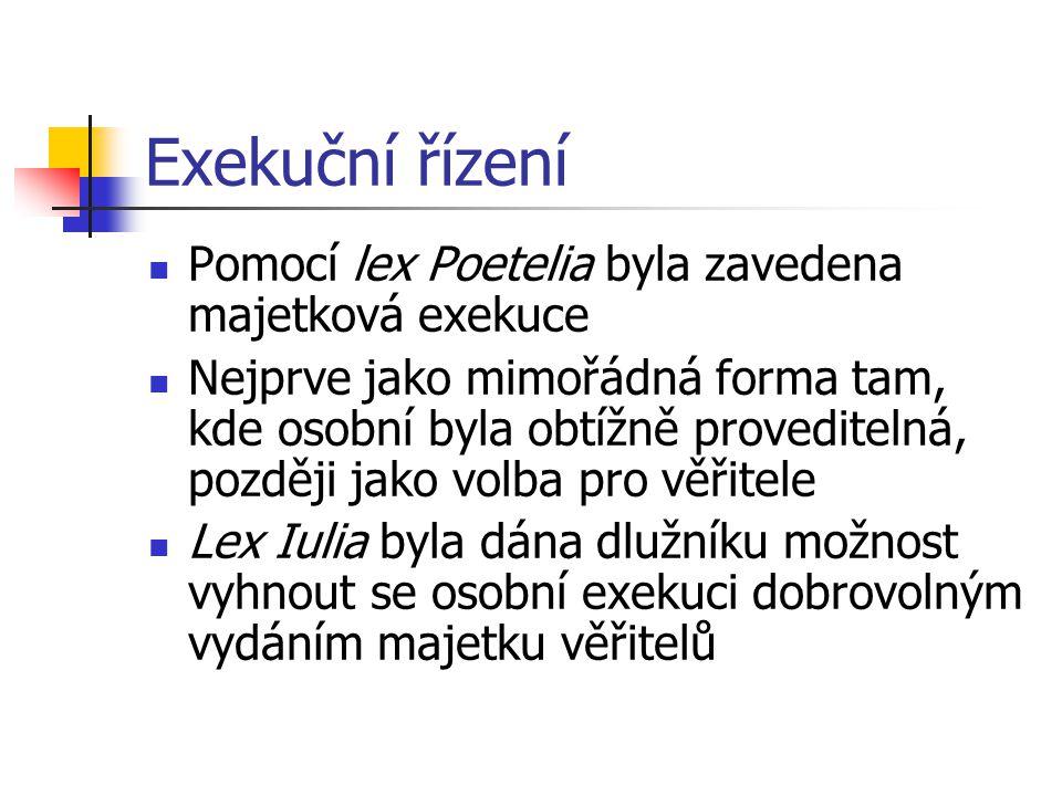 Exekuční řízení Pomocí lex Poetelia byla zavedena majetková exekuce