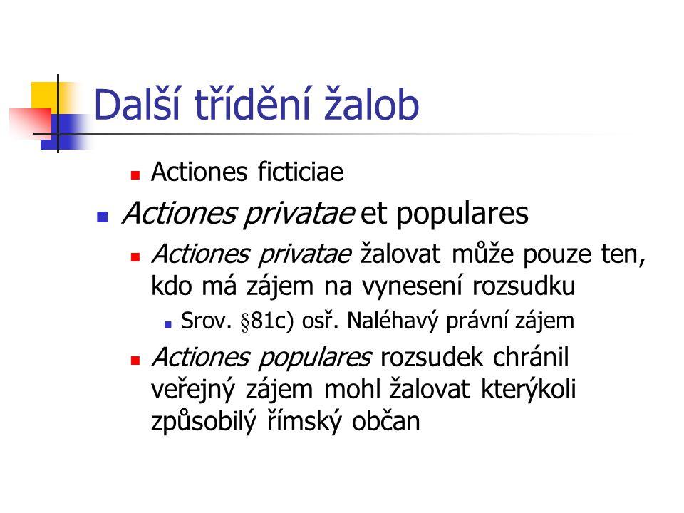 Další třídění žalob Actiones privatae et populares Actiones ficticiae