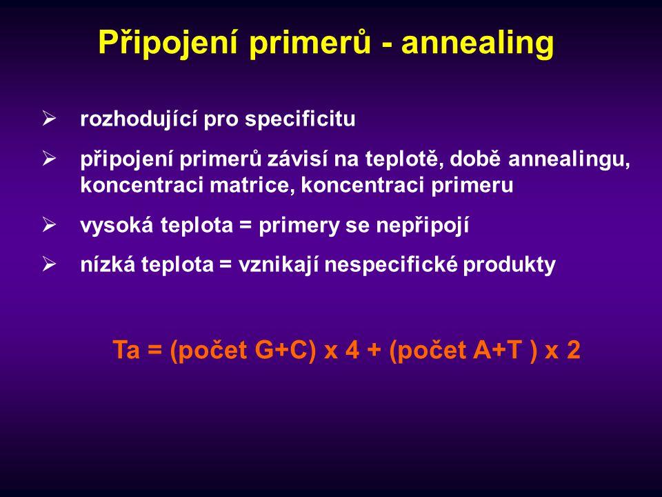 Připojení primerů - annealing
