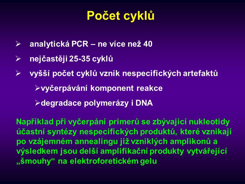 Počet cyklů analytická PCR – ne více než 40 nejčastěji 25-35 cyklů