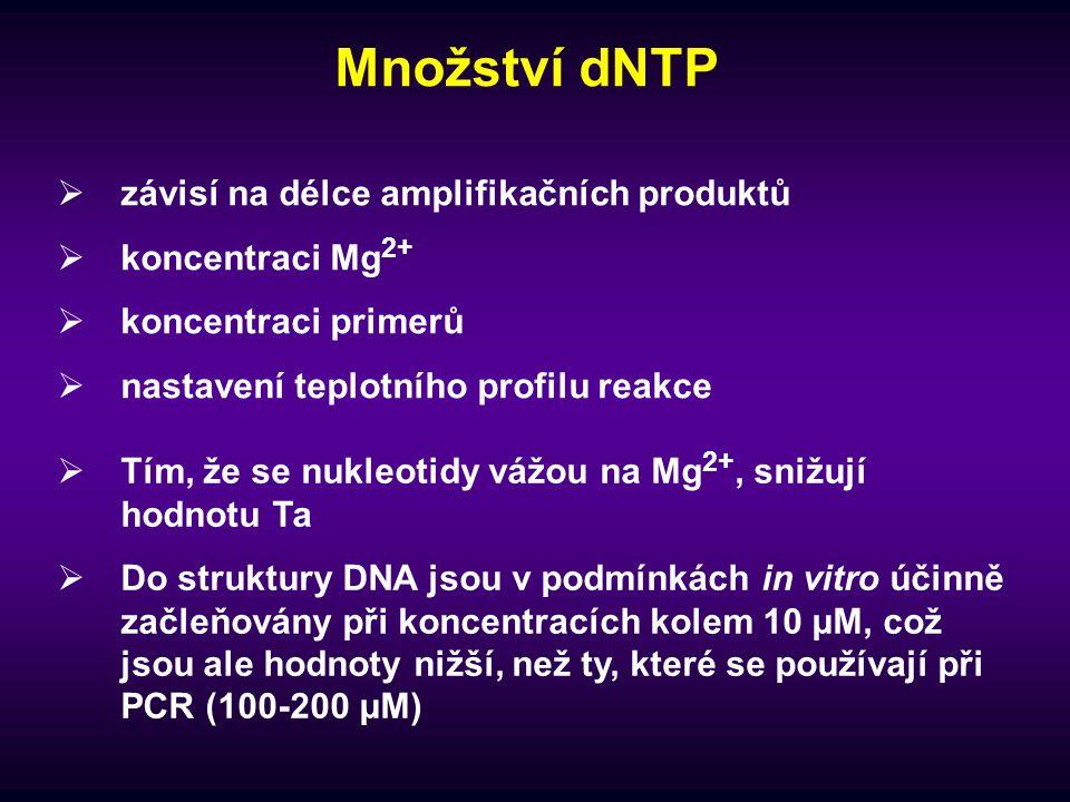 Množství dNTP závisí na délce amplifikačních produktů koncentraci Mg2+