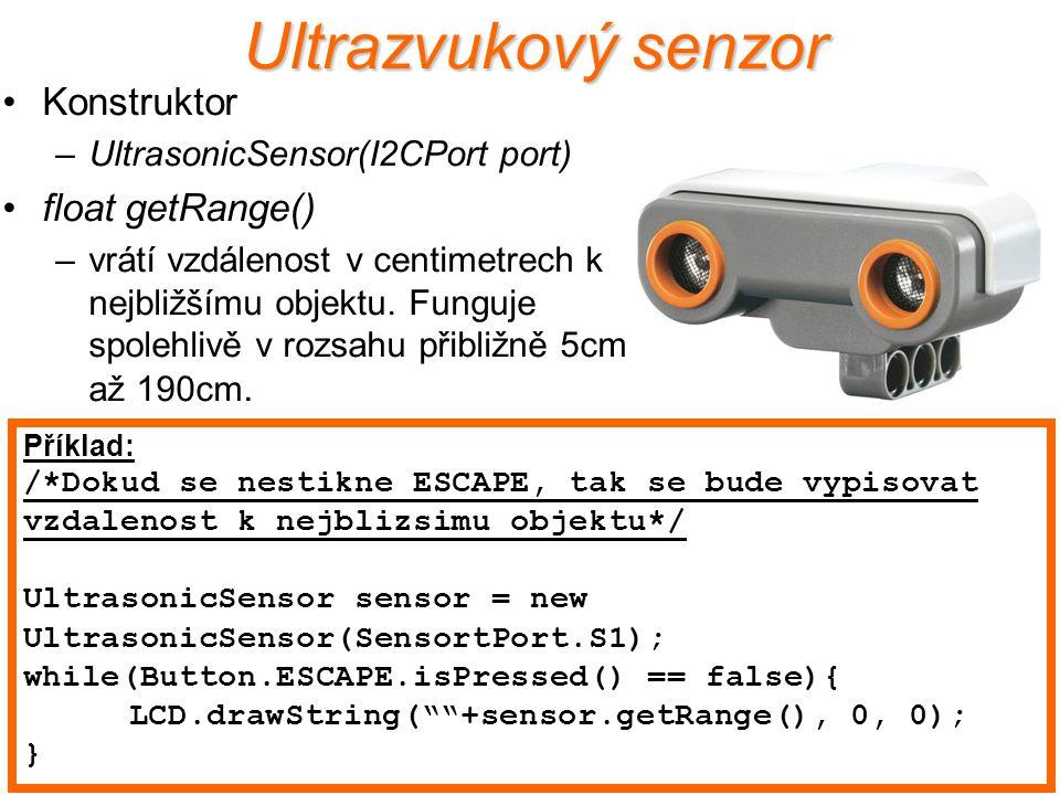 Ultrazvukový senzor Konstruktor float getRange()