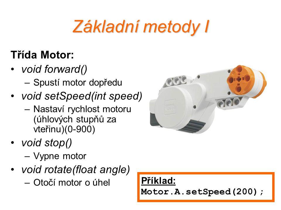 Základní metody I Třída Motor: void forward() void setSpeed(int speed)