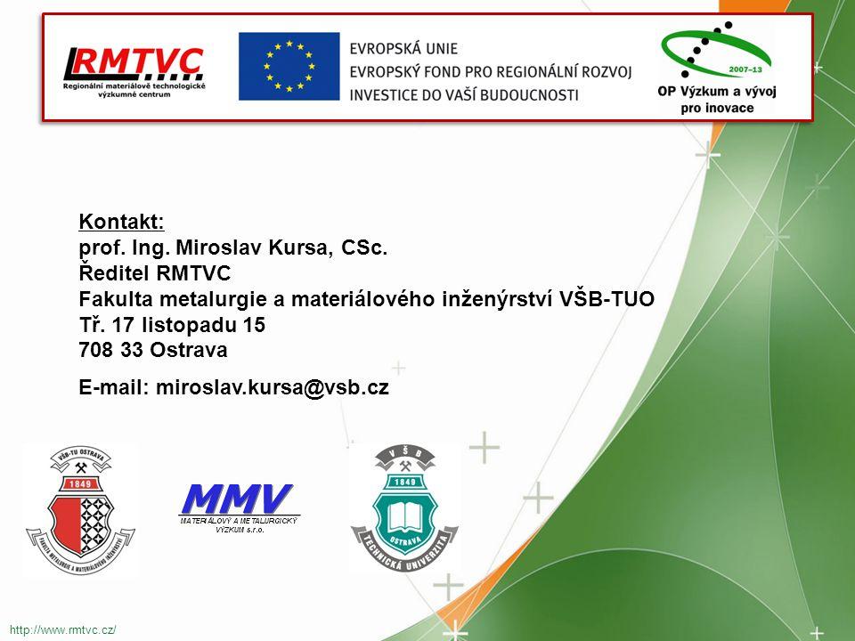 prof. Ing. Miroslav Kursa, CSc. Ředitel RMTVC
