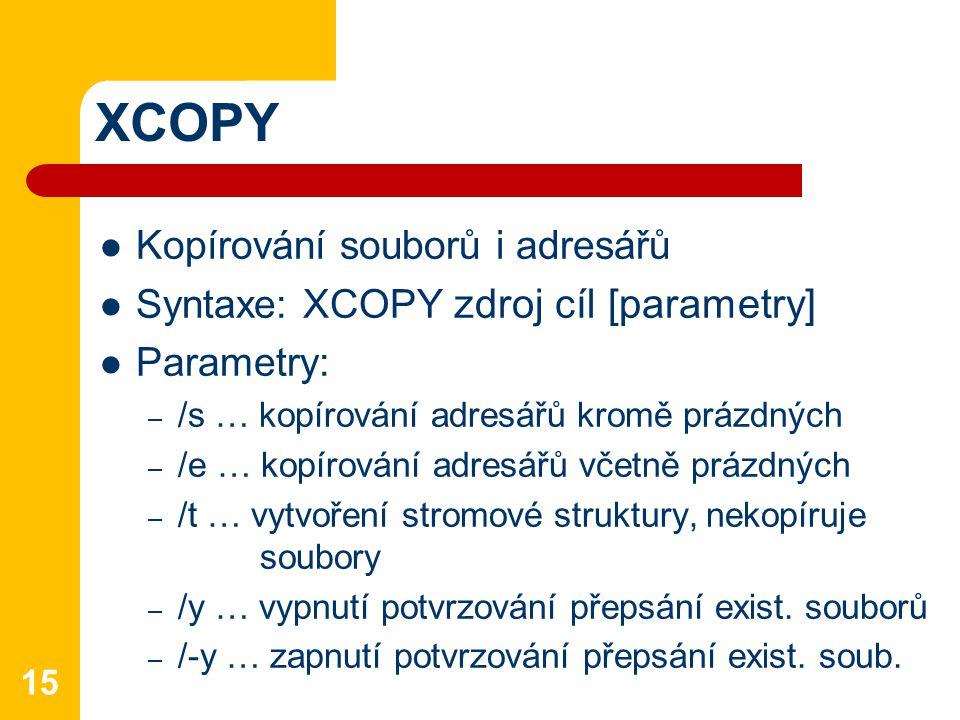 XCOPY Kopírování souborů i adresářů
