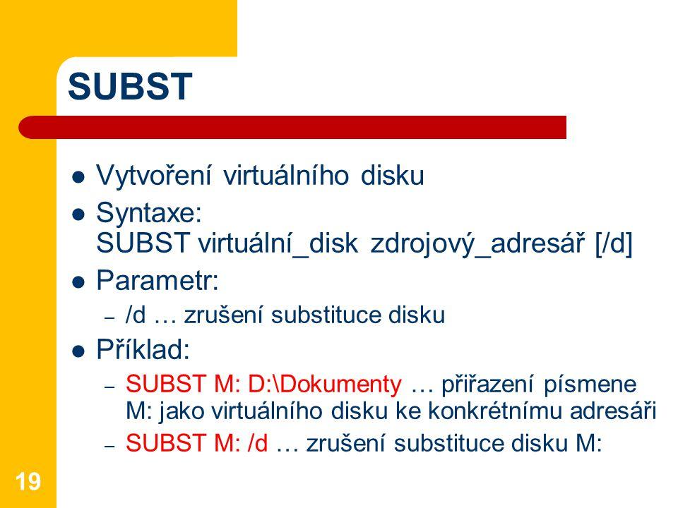 SUBST Vytvoření virtuálního disku