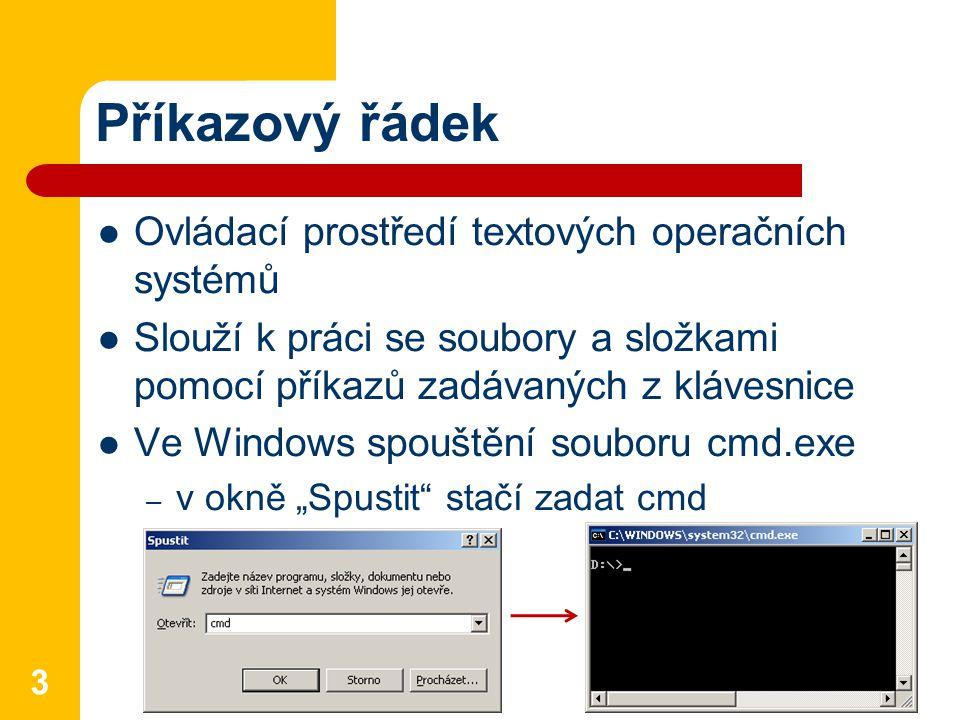 Příkazový řádek Ovládací prostředí textových operačních systémů