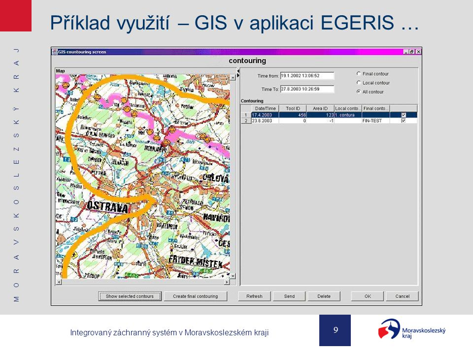 Příklad využití – GIS v aplikaci EGERIS …