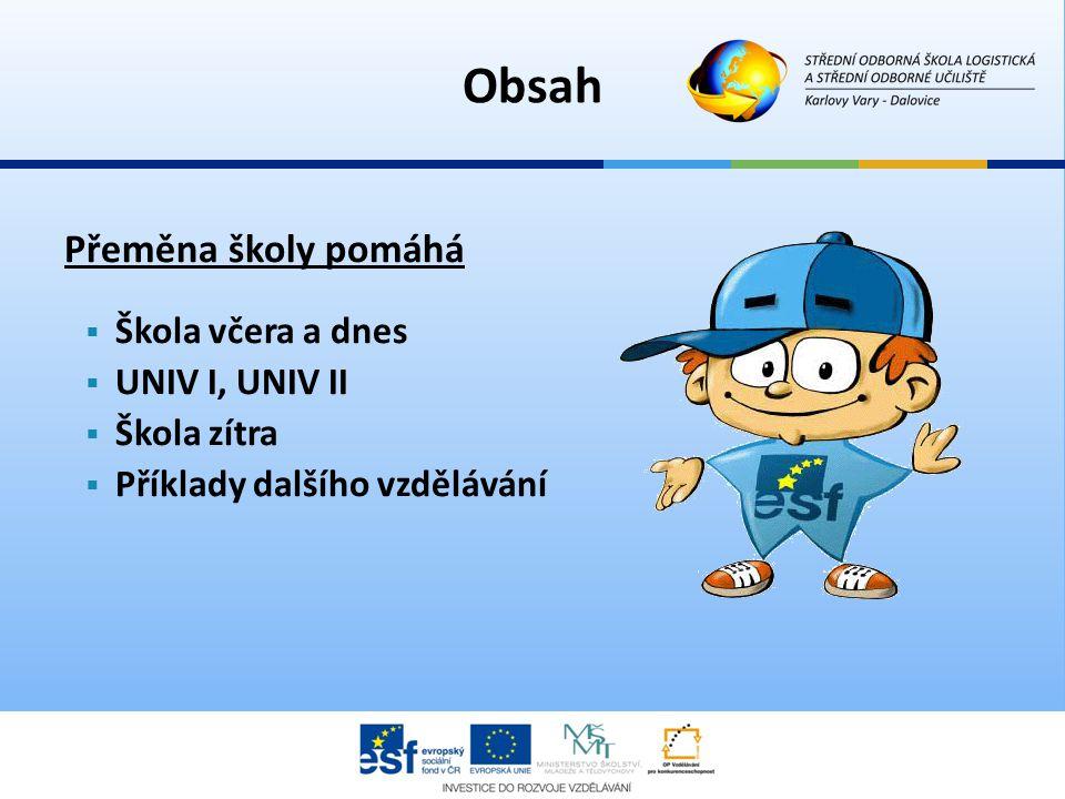 Obsah Přeměna školy pomáhá Škola včera a dnes UNIV I, UNIV II