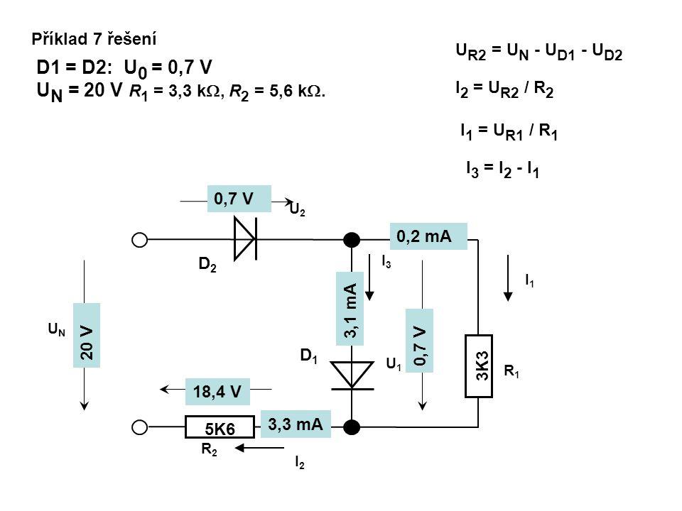Příklad 7 řešení UR2 = UN - UD1 - UD2. D1 = D2: U0 = 0,7 V. UN = 20 V R1 = 3,3 k, R2 = 5,6 k. I2 = UR2 / R2.