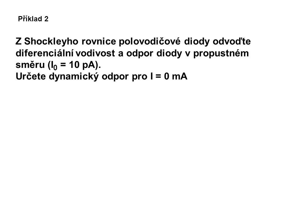 Určete dynamický odpor pro I = 0 mA