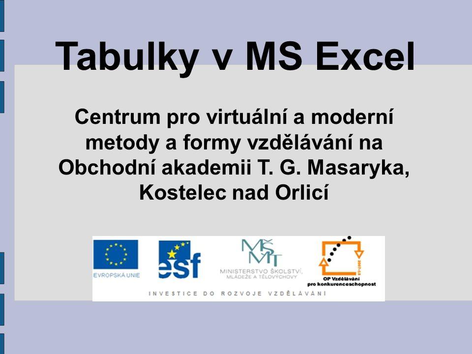 Tabulky v MS Excel Centrum pro virtuální a moderní metody a formy vzdělávání na Obchodní akademii T.