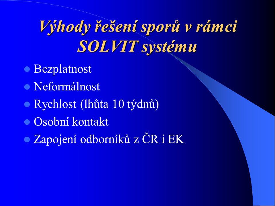 Výhody řešení sporů v rámci SOLVIT systému