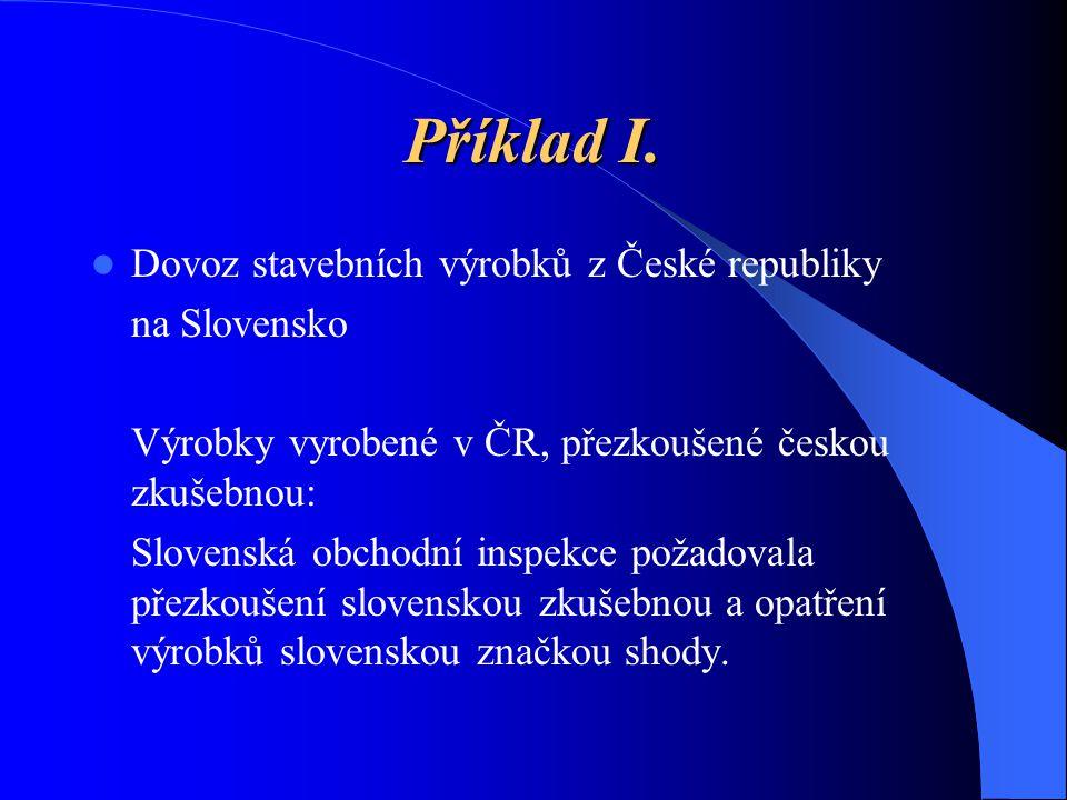 Příklad I. Dovoz stavebních výrobků z České republiky na Slovensko