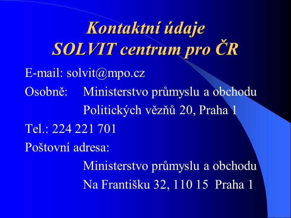 Kontaktní údaje SOLVIT centrum pro ČR