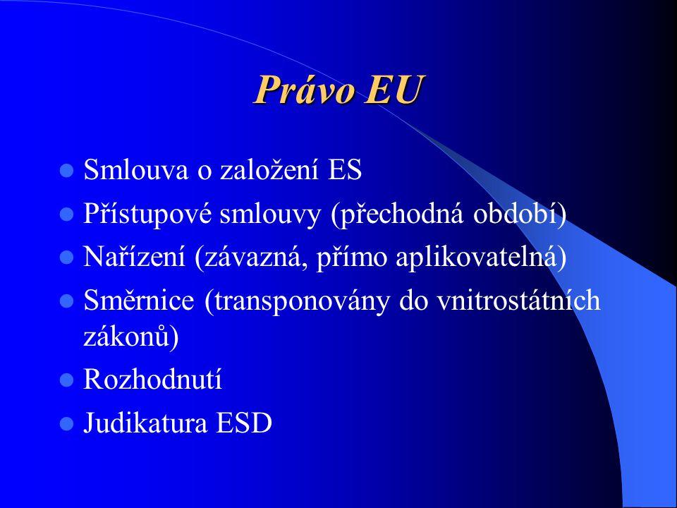 Právo EU Smlouva o založení ES Přístupové smlouvy (přechodná období)