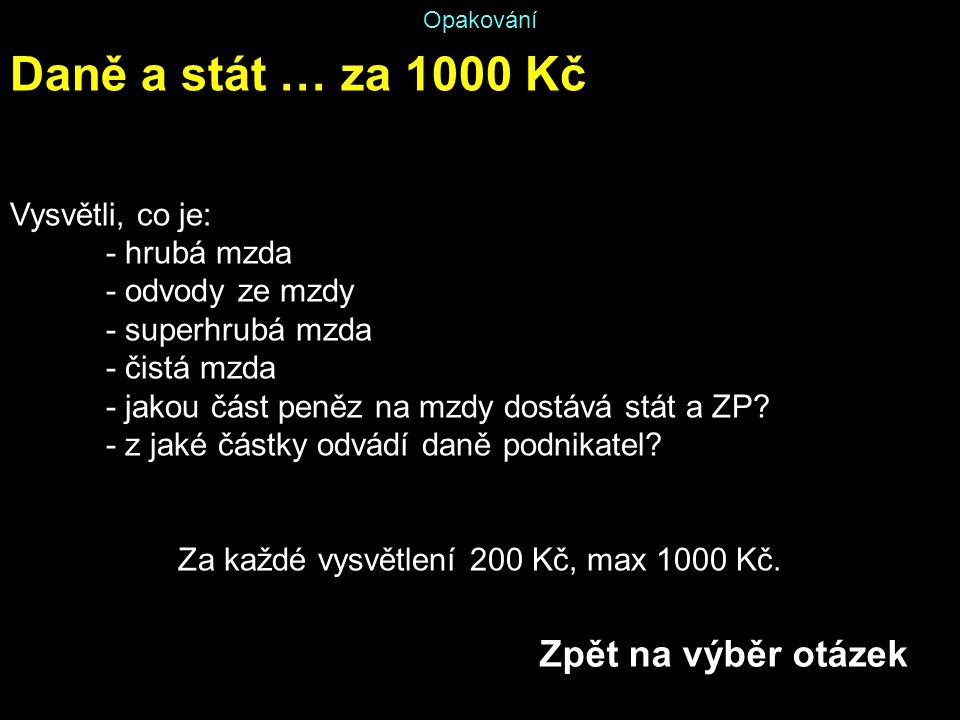 Za každé vysvětlení 200 Kč, max 1000 Kč.
