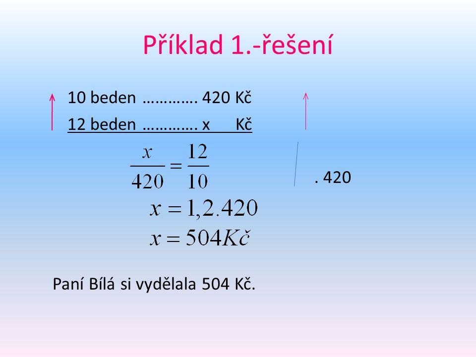 Příklad 1.-řešení 10 beden …………. 420 Kč 12 beden …………. x Kč . 420 Paní Bílá si vydělala 504 Kč.