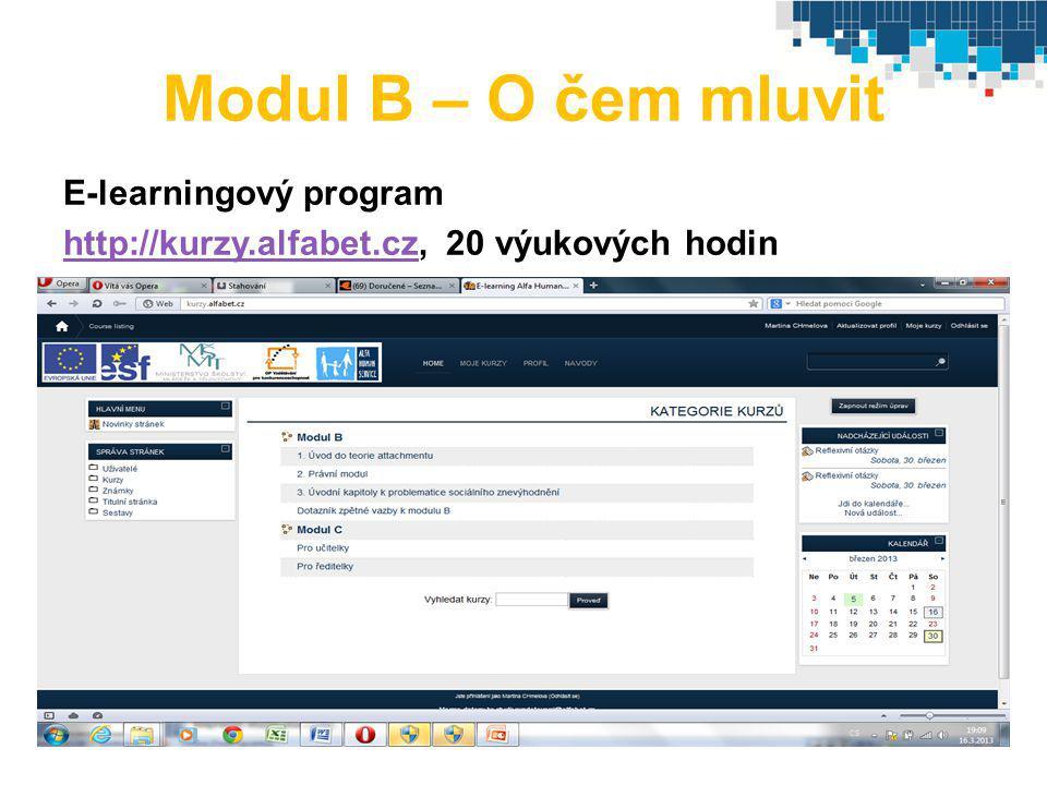 Modul B – O čem mluvit E-learningový program
