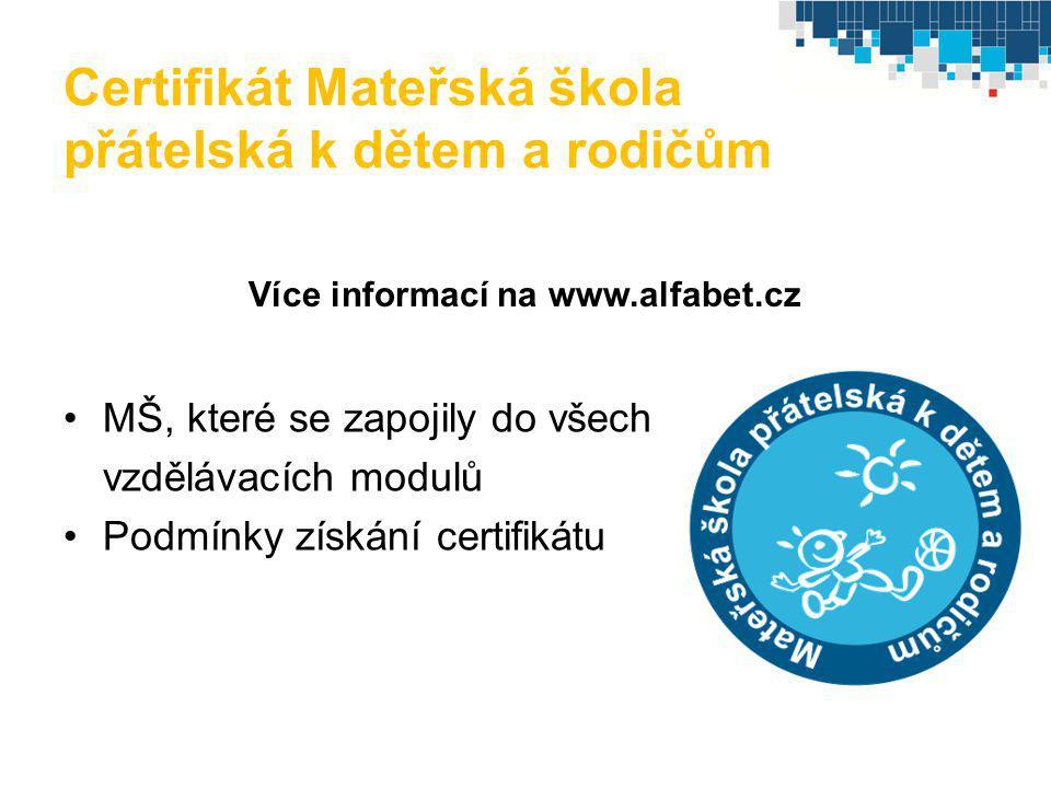Certifikát Mateřská škola přátelská k dětem a rodičům