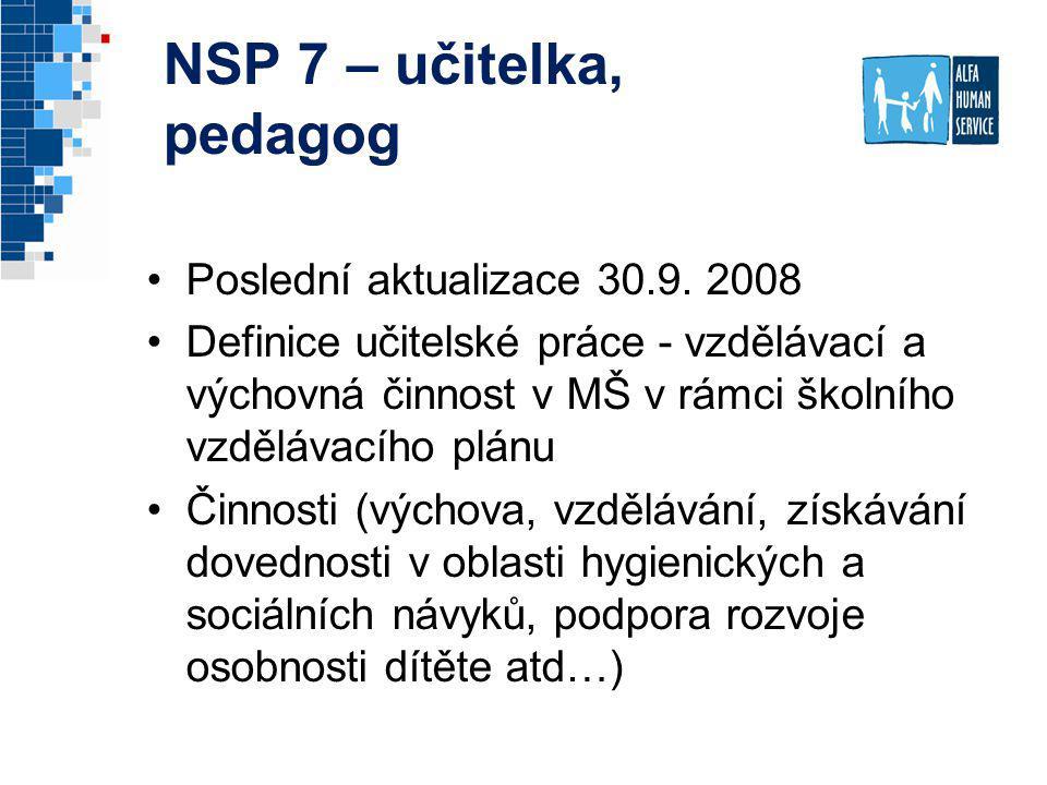 NSP 7 – učitelka, pedagog Poslední aktualizace 30.9. 2008