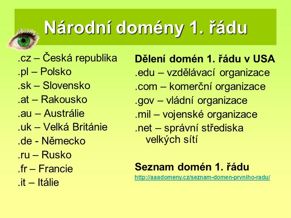 Národní domény 1. řádu .cz – Česká republika