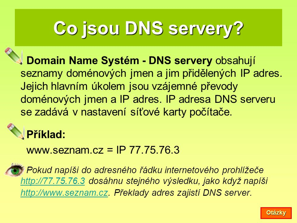 Co jsou DNS servery