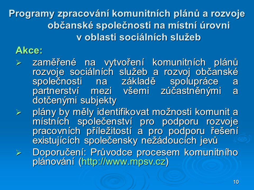 Programy zpracování komunitních plánů a rozvoje občanské společnosti na místní úrovni v oblasti sociálních služeb
