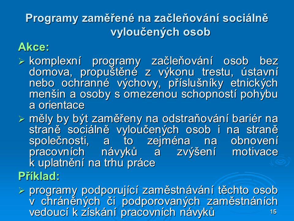 Programy zaměřené na začleňování sociálně vyloučených osob