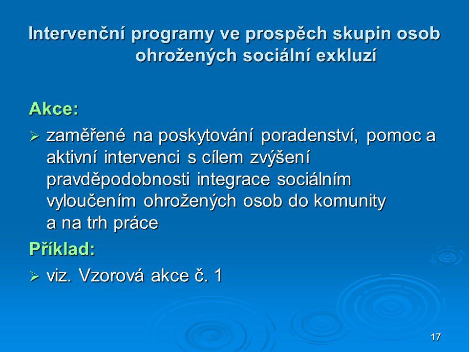 Intervenční programy ve prospěch skupin osob ohrožených sociální exkluzí