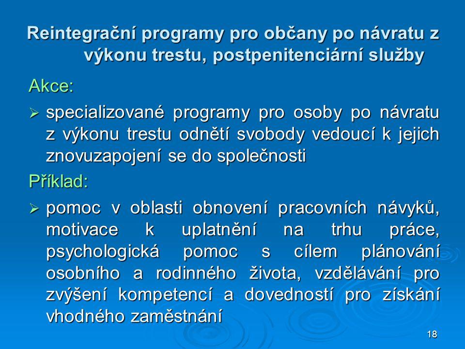 Reintegrační programy pro občany po návratu z výkonu trestu, postpenitenciární služby