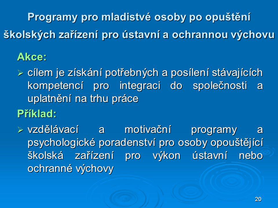 Programy pro mladistvé osoby po opuštění školských zařízení pro ústavní a ochrannou výchovu