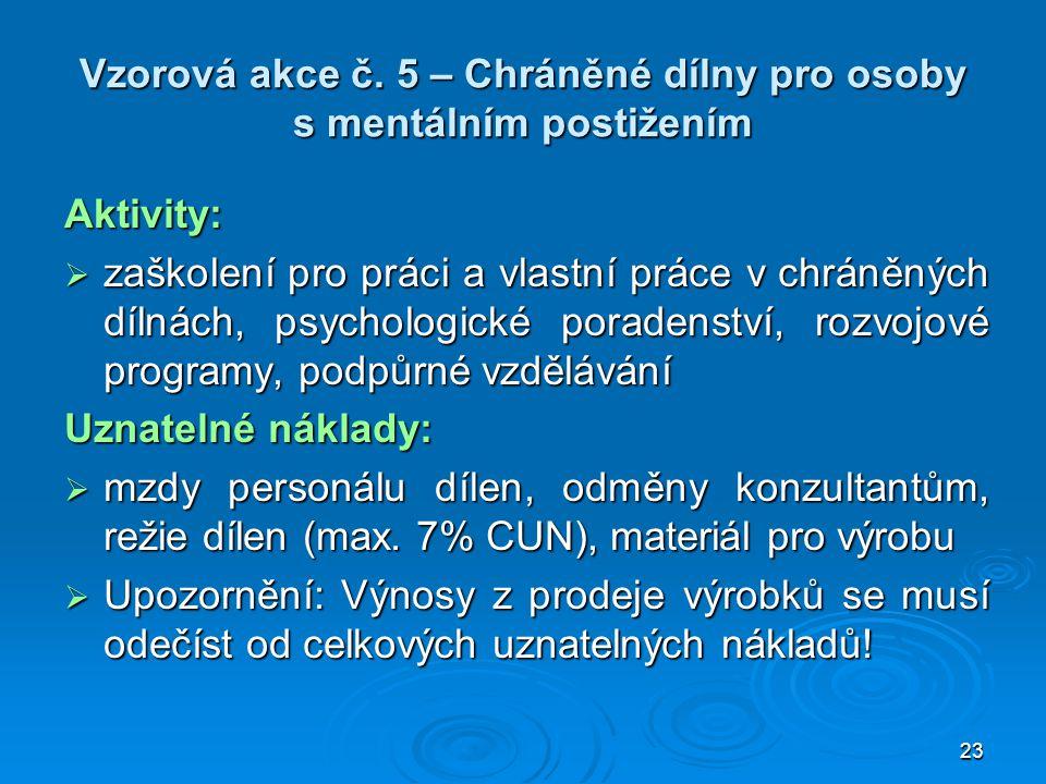 Vzorová akce č. 5 – Chráněné dílny pro osoby s mentálním postižením