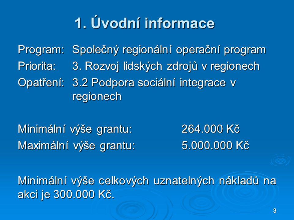 1. Úvodní informace Program: Společný regionální operační program