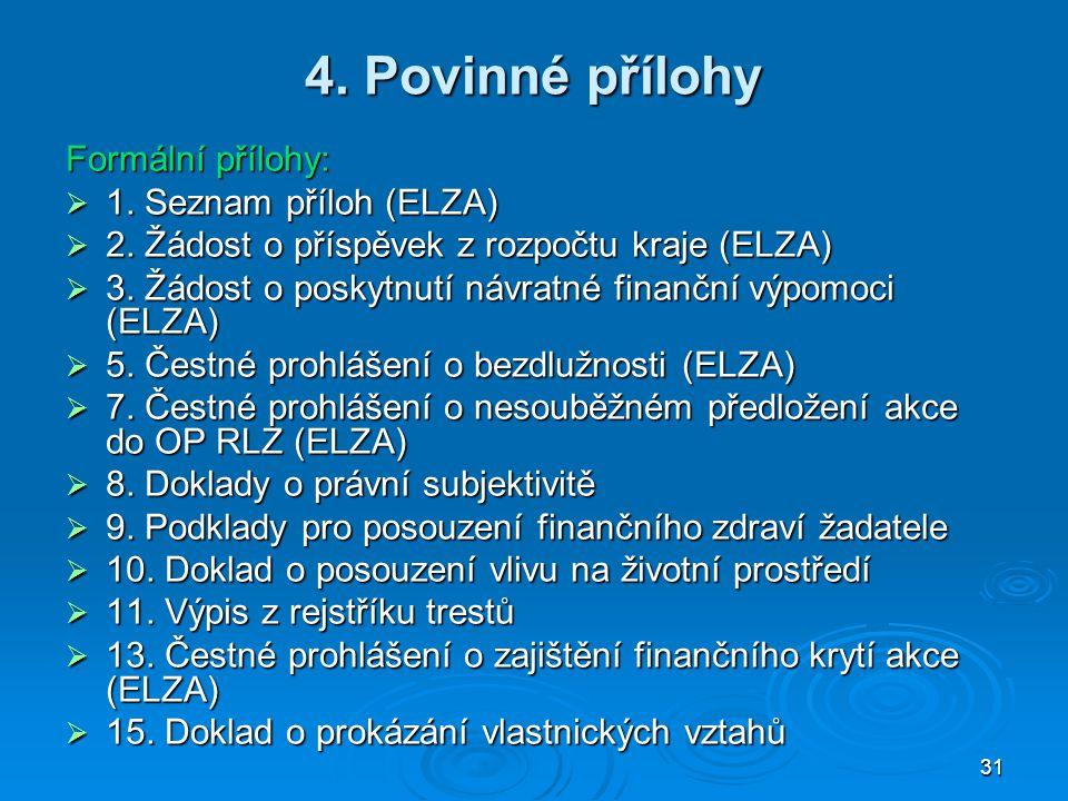4. Povinné přílohy Formální přílohy: 1. Seznam příloh (ELZA)