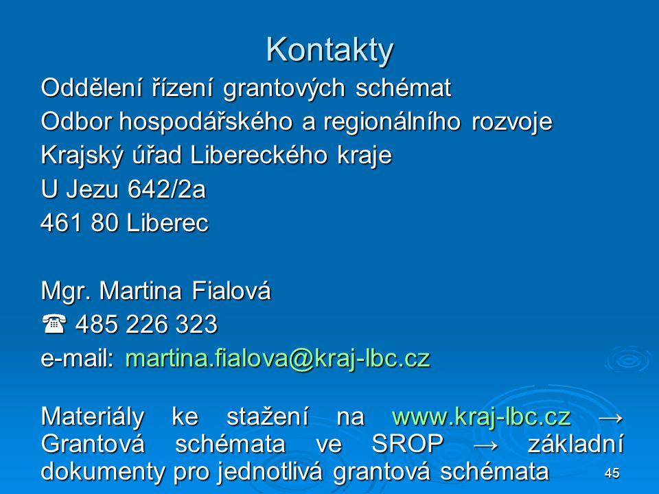 Kontakty Oddělení řízení grantových schémat
