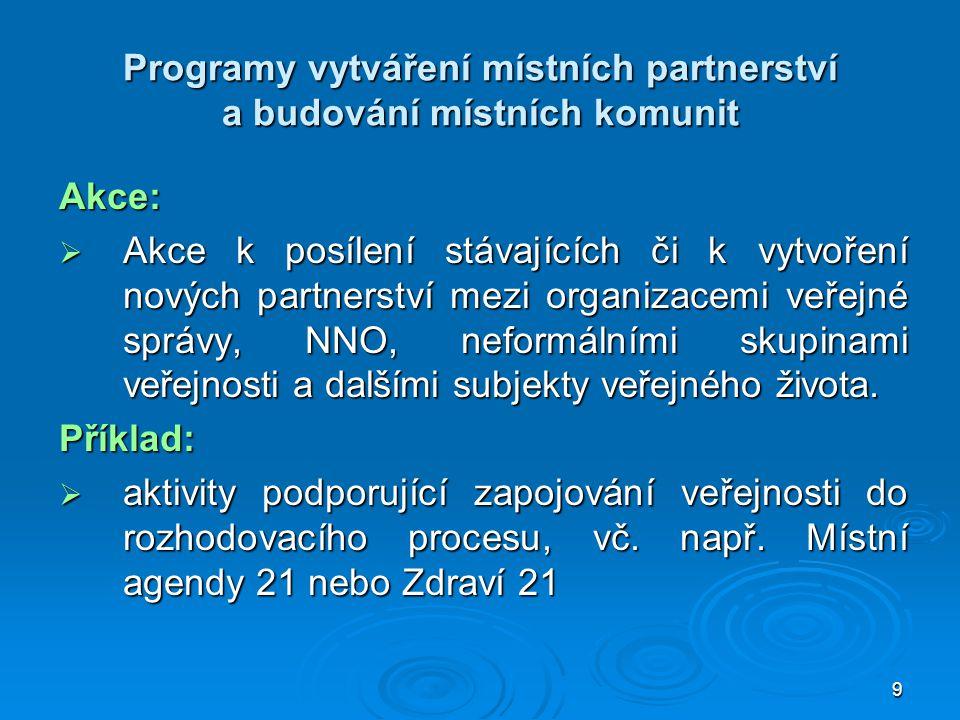 Programy vytváření místních partnerství a budování místních komunit