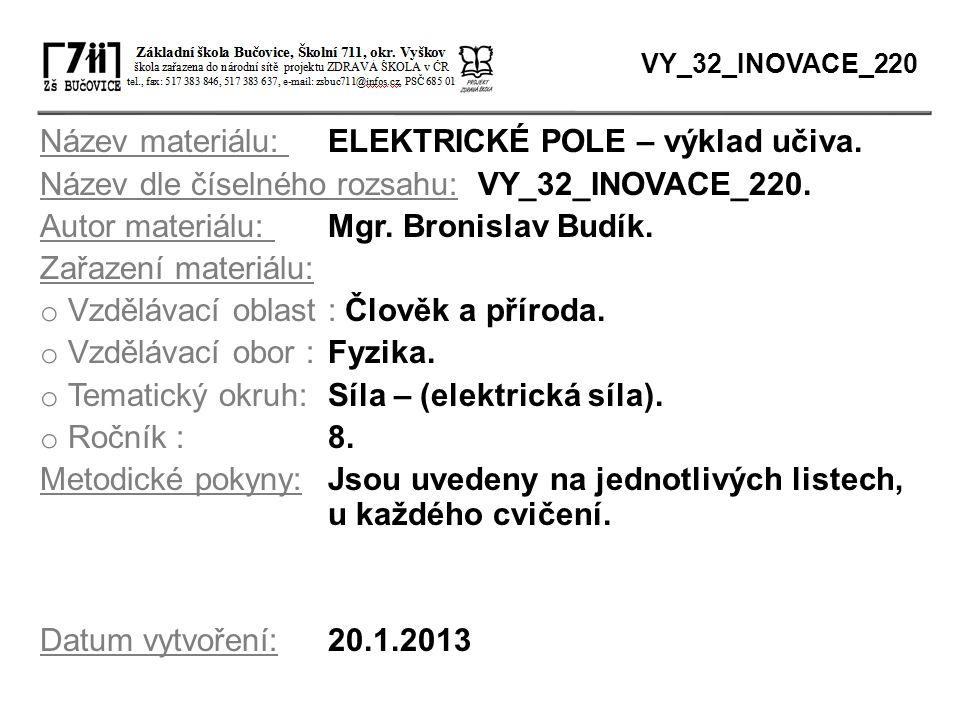 Název materiálu: ELEKTRICKÉ POLE – výklad učiva.
